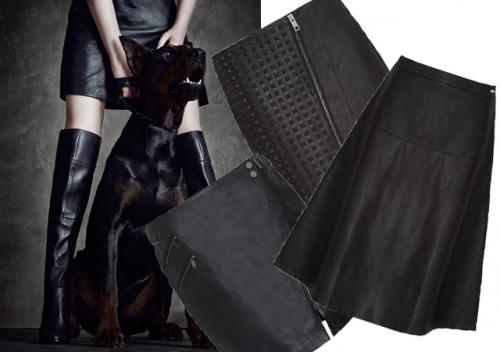 czarne skórzane spódnice, moda