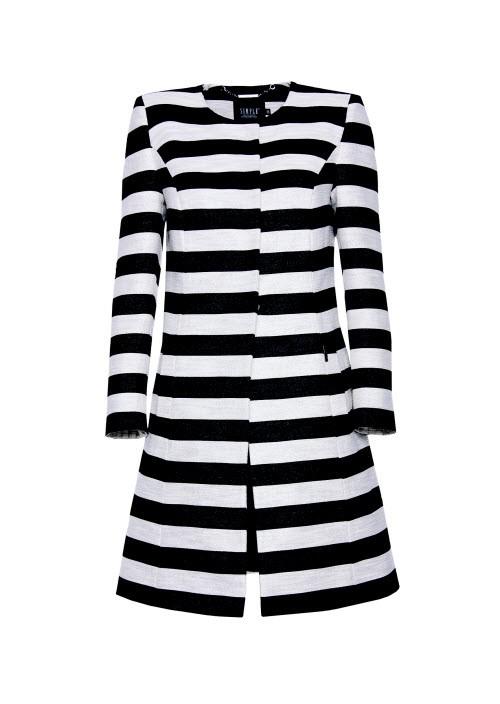 Płaszcz w czarno-białe pasy, Simple, cena: 999,90 zł