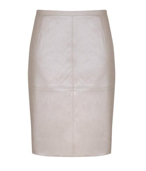 Pastelowa prosta spódnica z tkaniny imitującej skórę, Taranko, cena: 239 zł