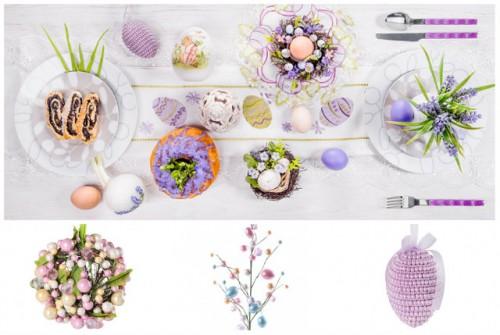 dekoracje pastelowe, pastele, stół wielkanocny