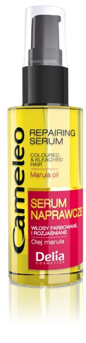 Cameleo Color Protection – serum naprawcze z olejem marula do włosów farbowanych, rozjaśnianych, zniszczonych trwałą i innymi zabiegami fryzjerskimi, wzmacnia, naprawia i nawilża rozdwajające się, delikatne i łamiące się końcówki, cena: 11,20/50 ml