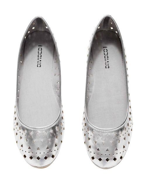 srebrne buty, H&M, cena: 49,90 zł