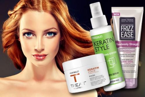 włosy, kosmetyki z keratyną, Photoshop, zestawienie