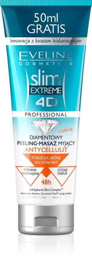 DIAMENTOWY PEELING-MASAŻ MYJĄCY ANTYCELLULIT z kofeiną SLIM EXTREME 4D Eveline Cosmetics, CENA 250 ml ok. 15 zł.