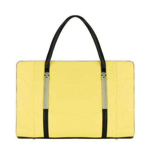 Prosta żółta torebka z czarnymi uszami, Marks & Spencer