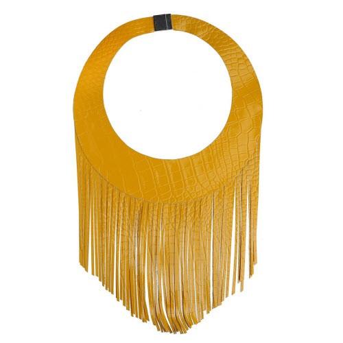 Oryginalny, żółty naszyjnik z supermodnymi w tym sezonie frędzlami, Republika Artystyczna, cena: 129 zł