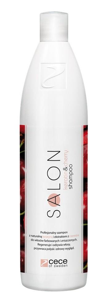 Cece of Sweden, SALON keratin&cherry shampoo, 500 ml, 15,90 zł. Zawiera filtry UV, które działają ochronnie na włosy narażone na promieniowanie UV oraz zapobiegają blaknięciu koloru.