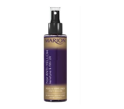 Mgiełka niwelująca żółty odcień  firmy Marion do włosów rozjaśnionych, blond i siwych. Specjalnie dobrane składniki zawarte w odżywce niwelują ciepły, żółty odcień włosów, nadając włosom blond zimny ton, a siwym piękny, srebrny połysk. Systematyczne stosowanie nie tylko niweluje żółty odcień, ale również odżywia i nawilża włosy. Płynna keratyna wnikając w głąb włosów przyczynia się do ich wzmocnienia, nawilżenia, zapewnia im zdrowy wygląd. Filtr UV chroni przed negatywnym wpływem czynników zewnętrznych oraz pomaga regenerować uszkodzenia spowodowane stylizacją. W zależności od ilości aplikacji mgiełka stopniowo nadaje pożądany odcień.  Cena  ok. 8 zł /150 ml.