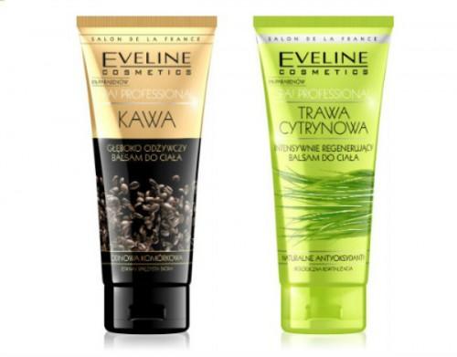 Balsamy do ciała o zapachu kawy i trawy cytrynowej z olejkiem arganowym i kokosowym oraz alantoniną. Eveline Comsetics, cena: ok. 15 zł/200 ml.