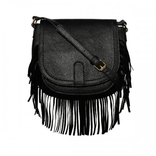 Czarna torebka na pasku, z frędzlami, House, cena: 99,99 zł.