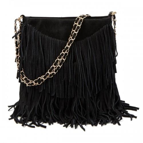 Czarna torba z frędzlami na łańcuszku, Mohito, cena: 179,99 zł.