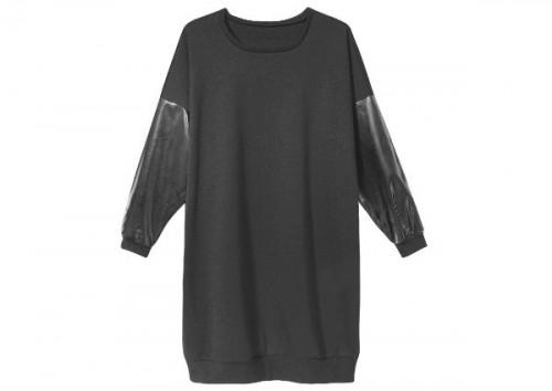 Długi sweter z rękawami z materiału imitującego skórę, Sinsay, cena: 99,99 zł.