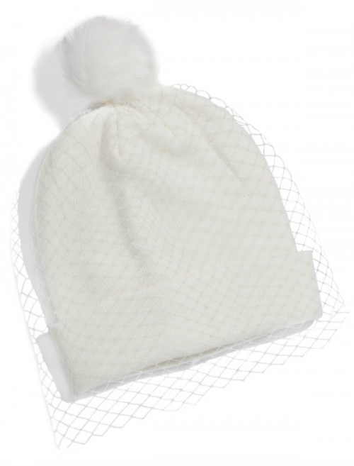 Biała czapka z pomponem, Sinsay, cena: 49,99 zł.