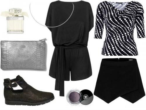 Kombinezon czarny – MOSQUITO, saszetka szara – antbag by ania, buty – Follow Me, czarna bluzka w białe grochy– Hera, spódnica – MOSQUITO