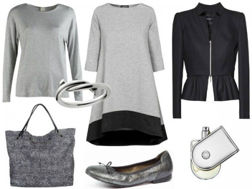 Bluzka- Rabarbar, torebka - BOCA, sukienka - MOSQUITO,  żakiet – Hera, buty - Caprice.