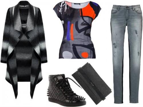 Płaszcz - TOK, bluzka - HERA, torebka - Boca, spodnie – CristinaEffe, buty – Philips Plein.
