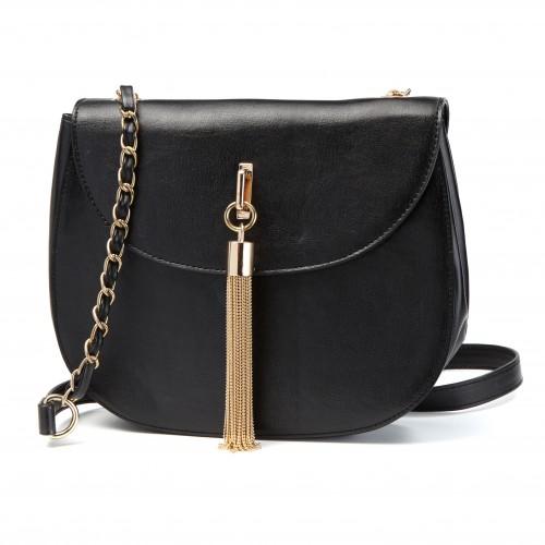 Czarna, elegancka torebka ze złotymi frędzlami, Mohito, cena: 99,99 zł