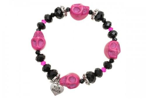 Bransoletka Yuta Pasch Glass Beads Skulls Black, Jades24, cena: 180 zł.