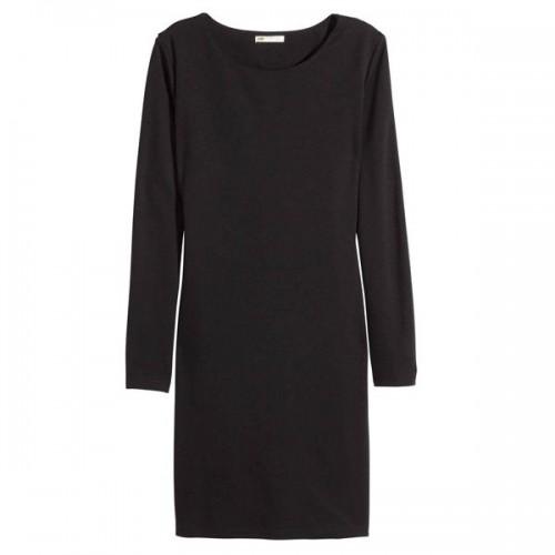 Czarna sukienka z długimi rękawami H&M, cena