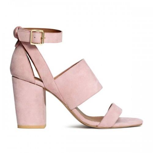 Różowa sandały na obcasie H&M, cena