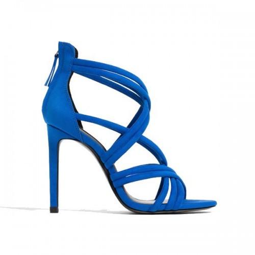 Niebieskie sandały na obcasie Zara, cena