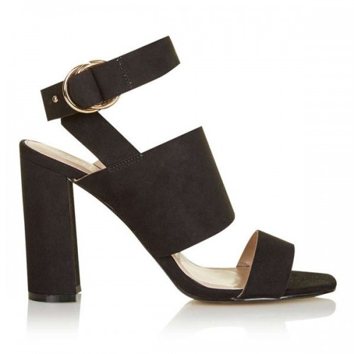 Czarne sandały na obcasie Topshop, cena