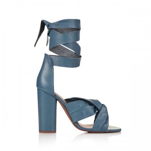 Niebieskie sandały na obcasie Topshop, cena