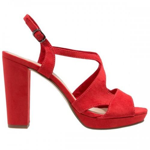 Czerwone sandały na obcasie Tamaris, cena