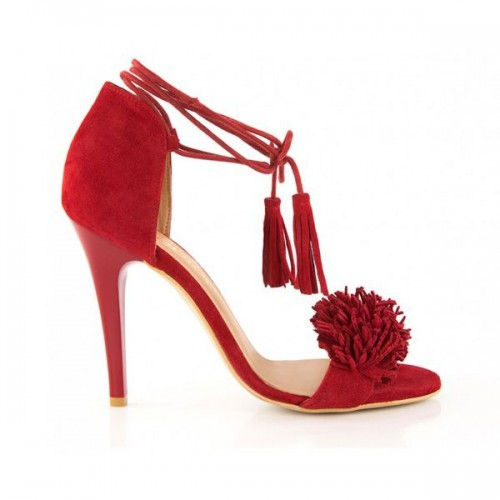 Czerwone sandały na obcasie Badura, cena