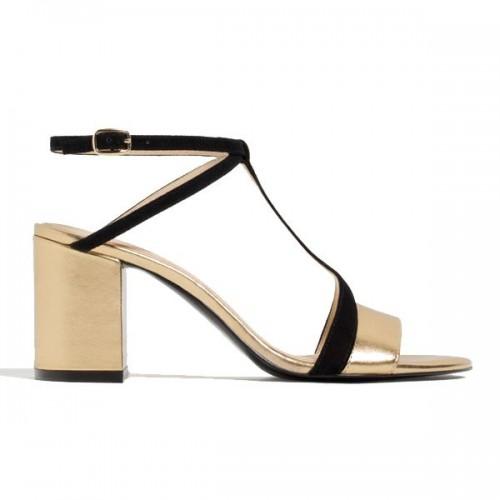 Złote sandały na obcasie Zara, cena