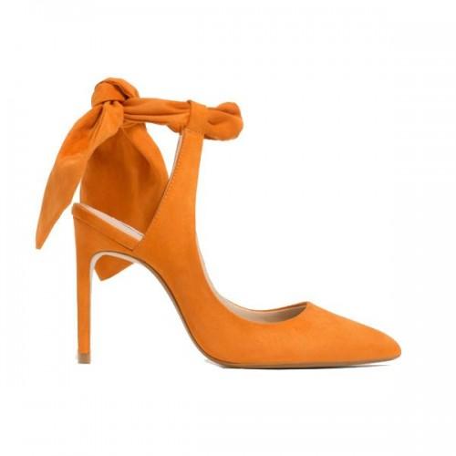 Pomarańczowe buty na obcasie Zara, cena