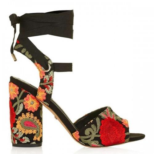 Wzorzyste sandały na obcasie Topshop, cena