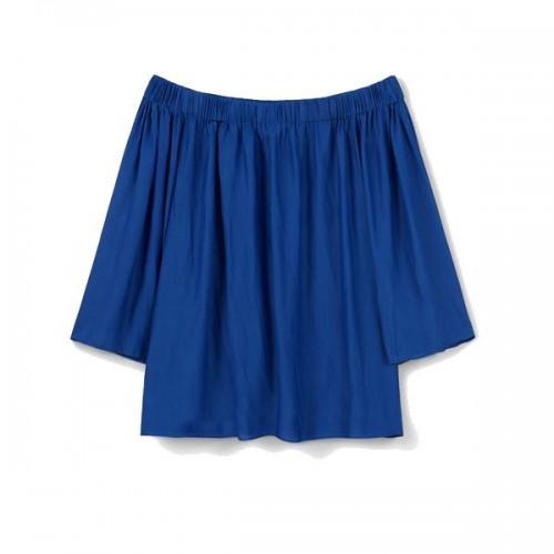Niebieska bluzka bez ramion Mango, cena