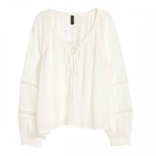 Biała bluzka z wiązaniem H&M, cena