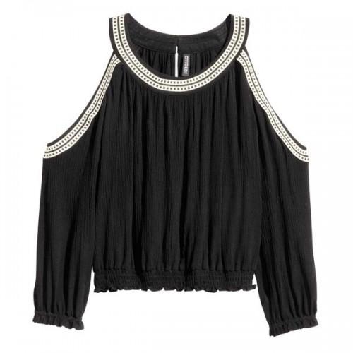 Czarna bluzka z wycięciami na ramionach H&M, cena