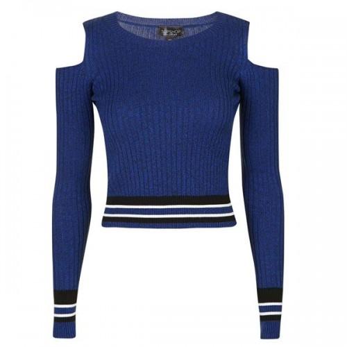 Niebieska bluzka z wycięciami na ramionach Topshop, cena
