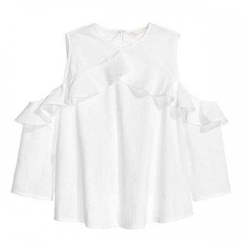 Biała koszula z wycięciami na ramionach H&M, cena