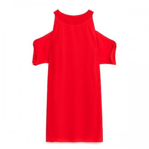 Czerwona sukienka z wycięciami na ramionach Zara, cena