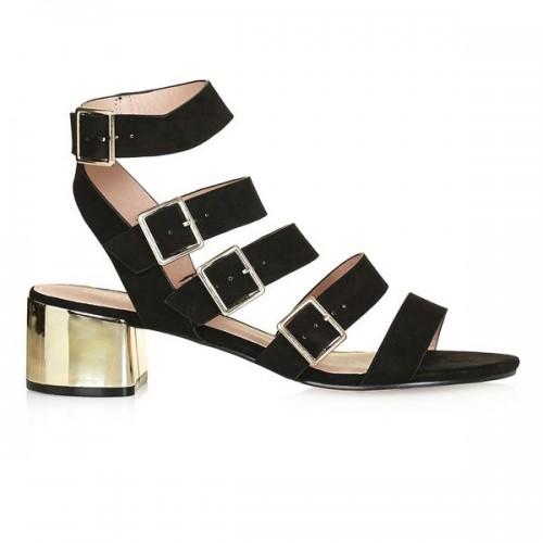 Czarne sandały na niskim obcasie Topshop, cena