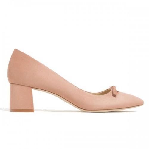 Beżowe buty na niskim obcasie Zara, cena