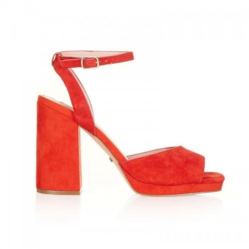 Czerwone sandały na obcasie Topshop, cena