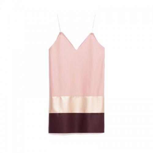 Różowa sukienka na cienkich ramiączkach Zara, cena