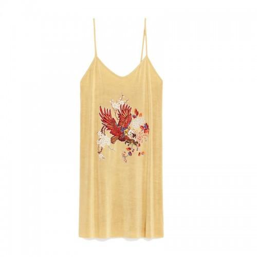 Żółta sukienka na cienkich ramiączkach Zara, cena
