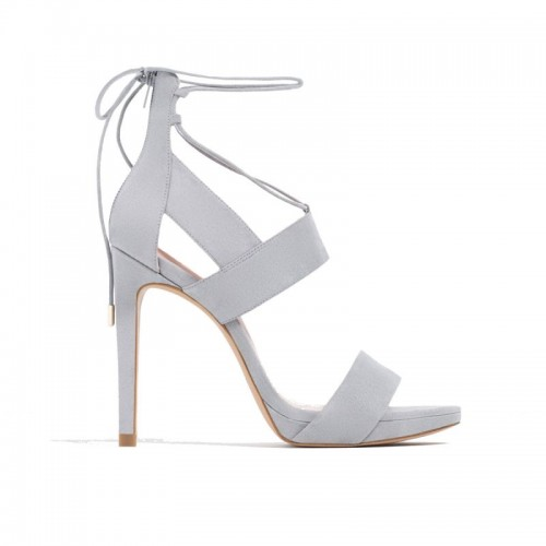 Szare sandały na obcasie Zara, cena