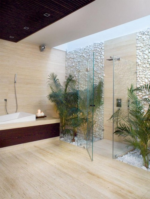 Luxury-bathroom-design-with-shower-area-with-glass-walls-and-door-bathtub-and-decorated-with-plants-interior