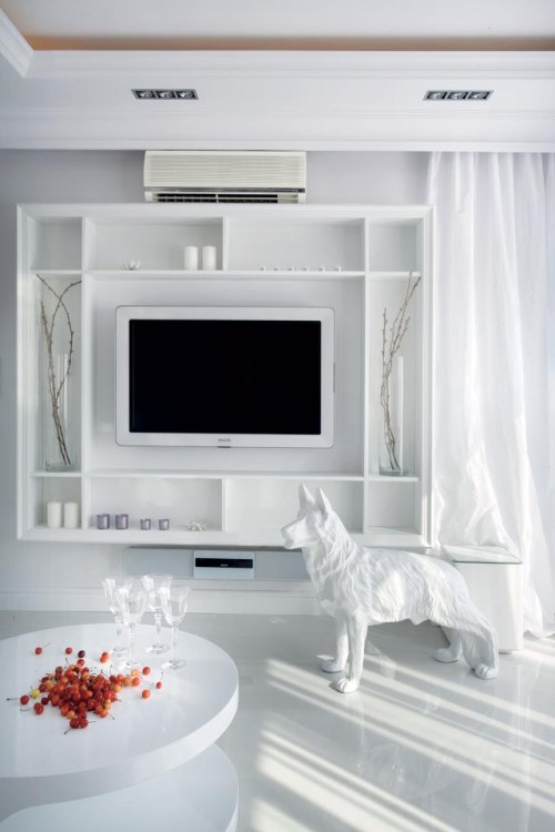 Luxury-living-area-design-with-modern-coffee-table-modern-wall-unit-with-shelves-and-dog-statue