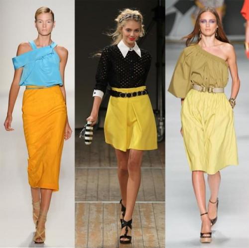 żółta spódnica, porady stylisty