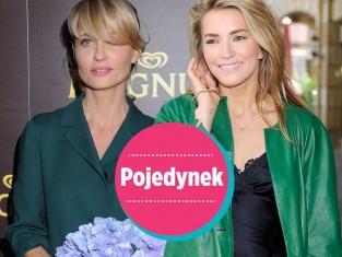 Aneta Kręglicka i Kamila Baar w zielonym płaszczu