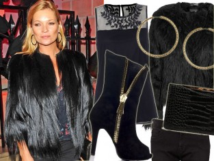 Kate Moss w czarnym futerku