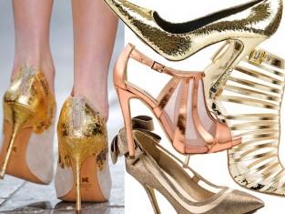 Złote szpilki - modne buty